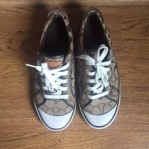 Coach tennis shoes - brown pattern with white.